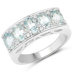 2.56 Carat Genuine Aquamarine and White Zircon .925 Sterling Silver Ring