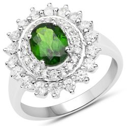 2.40 Carat Genuine Chrome Diopside and White Zircon .925 Sterling Silver Ring