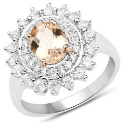 Two Tone Plated 2.30 Carat Genuine Peach Morganite and White Zircon .925 Sterling Silver Ring