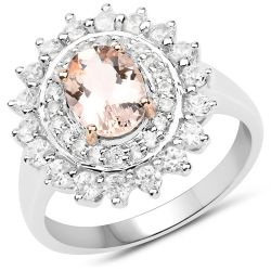 Two Tone Plated 2.30 Carat Genuine Pink Morganite and White Zircon .925 Sterling Silver Ring