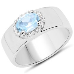 1.07 Carat Genuine Blue Topaz and White Zircon .925 Sterling Silver Ring