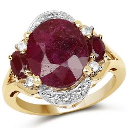14K Yellow Gold Plated 7.11 Carat Dyed Ruby, Genuine Ruby and White Topaz .925 Sterling Silver Ring