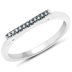 0.06 Carat Genuine Blue Diamond .925 Sterling Silver Ring