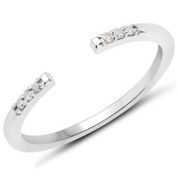 0.05 Carat Genuine White Diamond .925 Sterling Silver Ring