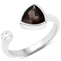 0.99 Carat Genuine Smoky Quartz .925 Sterling Silver Ring