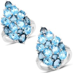 6.69 Carat Genuine Swiss Blue Topaz, London Blue Topaz and White Zircon .925 Sterling Silver Ring