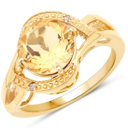 14K Yellow Gold Plated 2.41 Carat Genuine Citrine and White Diamond .925 Sterling Silver Ring