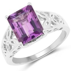 2.65 Carat Genuine Amethyst .925 Sterling Silver Ring