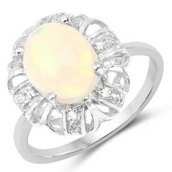 1.73 Carat Genuine Ethiopian Opal & White Topaz .925 Sterling Silver Ring