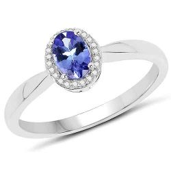 0.48 Carat Genuine Tanzanite and White Diamond 14K White Gold Ring