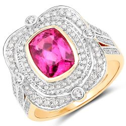 2.47 Carat Genuine Rubellite and White Diamond 14K Yellow Gold Ring