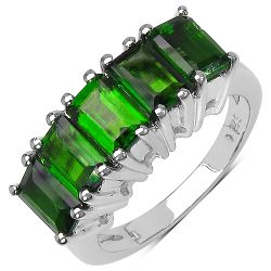 3.50 Carat Genuine Chrome Diopside .925 Streling Silver Ring