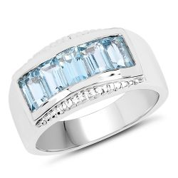 1.75 Carat Genuine Blue Topaz .925 Sterling Silver Ring