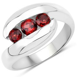 0.76 Carat Genuine Garnet .925 Sterling Silver Ring