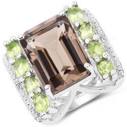 8.49 Carat Genuine Smoky Quartz, Peridot & White Topaz .925 Sterling Silver Ring