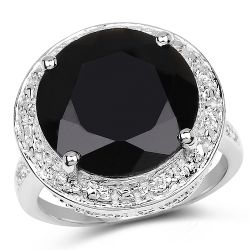 8.48 Carat Genuine Black Onyx and White Topaz .925 Sterling Silver Ring