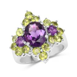 4.23 Carat Genuine Amethyst & Peridot .925 Sterling Silver Ring