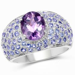4.21 Carat Genuine Amethyst and Tanzanite .925 Sterling Silver Ring