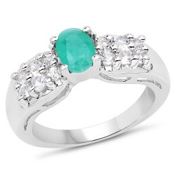 1.45 Carat Genuine Emerald & White Topaz .925 Sterling Silver Ring