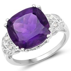 5.71 Carat Genuine Amethyst and White Topaz .925 Sterling Silver Ring