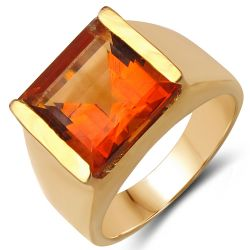 14K Yellow Gold Plated 6.00 Carat Genuine Citrine .925 Sterling Silver Ring