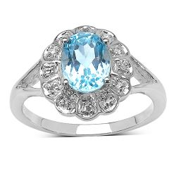 1.60 ct. t.w. Blue Topaz and White Topaz Ring in Sterling Silver