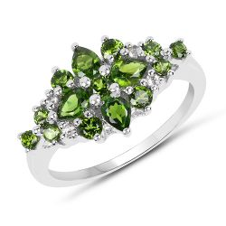 1.39 Carat Genuine Chrome Diopside & White Topaz .925 Sterling Silver Ring
