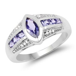 1.02 Carat Genuine Tanzanite & White Diamond .925 Sterling Silver Ring