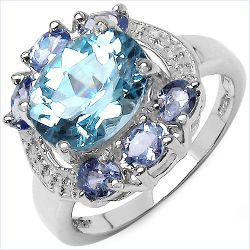 4.27 Carat Genuine Blue Topaz & Tanzanite .925 Sterling Silver Ring