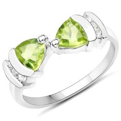 0.97 Carat Genuine Peridot and White Topaz .925 Sterling Silver Ring