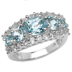 3.52 Carat Genuine Blue Topaz & White Topaz .925 Sterling Silver Ring