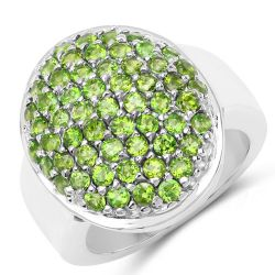 2.85 Carat Genuine Chrome Diopside .925 Sterling Silver Ring