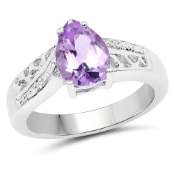 1.36 Carat Genuine Amethyst & White Topaz .925 Sterling Silver Ring