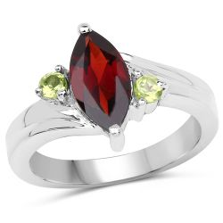 2.17 Carat Genuine Garnet and Peridot .925 Sterling Silver Ring