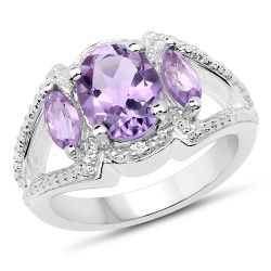 2.07 Carat Genuine Amethyst & White Topaz .925 Sterling Silver Ring