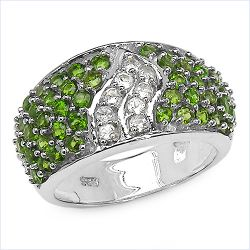 2.44 Carat Genuine Chrome Diopside & White Topaz .925 Sterling Silver Ring