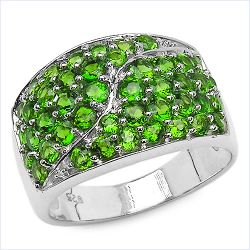 2.34 Carat Genuine Chrome Diopside .925 Sterling Silver Ring