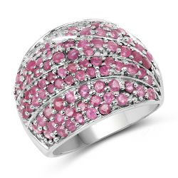 2.97 Carat Genuine Ruby .925 Sterling Silver Ring