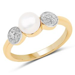 14K Yellow Gold Plated 1.24 Carat Genuine Pearl and White Cubic Zirconia .925 Sterling Silver Ring