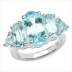 8.77 Carat Genuine Blue Topaz .925 Streling Silver Ring