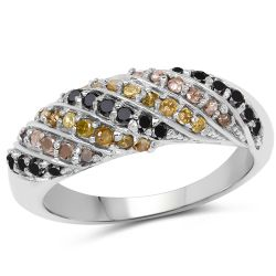 0.63 Carat Genuine Champagne Diamond, Yellow Diamond & Black Diamond .925 Sterling Silver Ring