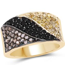 14K Yellow Gold Plated 1.25 Carat Genuine Black Diamond, Champagne Diamond & Yellow Diamond .925 Sterling Silver Ring
