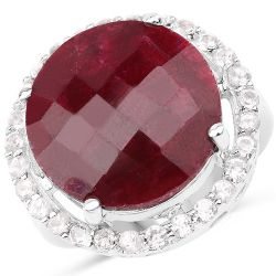 13.10 Carat Dyed Ruby and White Topaz .925 Sterling Silver Ring