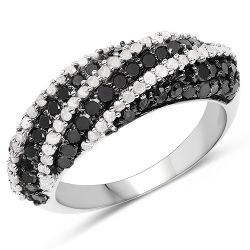 1.25 Carat Genuine Black Diamond & White Diamond .925 Sterling Silver Ring