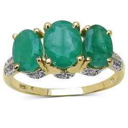 14K Yellow Gold Plated 2.88 Carat Genuine Emerald & White Topaz .925 Sterling Silver Ring