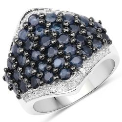 2.76 Carat Genuine Blue Sapphire & White Topaz .925 Sterling Silver Ring