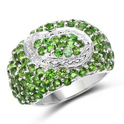 5.18 Carat Genuine Chrome Diopside .925 Sterling Silver Ring