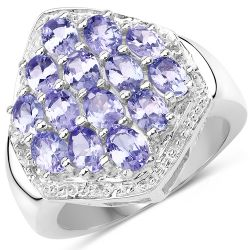 2.41 Carat Genuine Tanzanite and White Topaz .925 Sterling Silver Ring