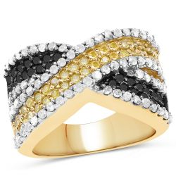 14K Yellow Gold Plated 1.58 Carat Genuine Black Diamond, White Diamond & Yellow Diamond .925 Sterling Silver Ring
