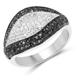 0.51 Carat Genuine Black Diamond & White Diamond .925 Sterling Silver Ring